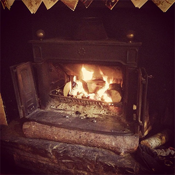 The fire in the bar at Christmas